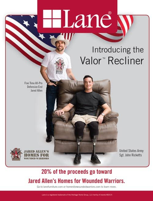 "Chicago Bears Jared Allen Unveils the Valorâ""¢ Recliner with Lane"