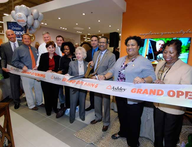 ashley homestore celebrates grand opening of first
